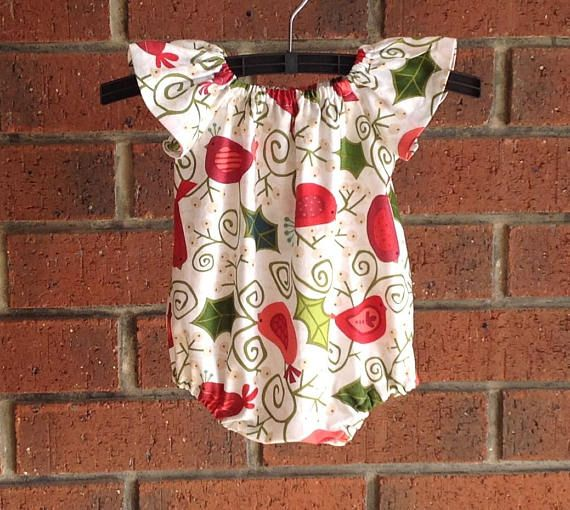 Baby and toddler girl Christmas bubble romper with holly and