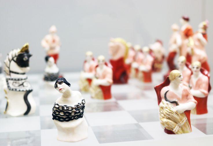 "Propaganda as art: Natalia Danko (1892-1942) Chess set ""Reds and Whites"", State Porcelain Factory, 1925. Overglaze paintwork, silvering and gilded porcelain. Агитационный фарфор"