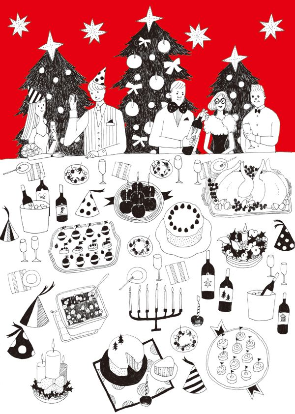 クリスマス パーティー 料理 イラスト