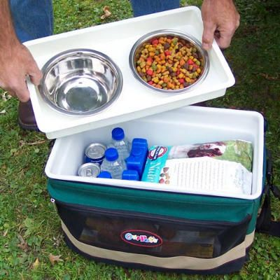 Pet Travel Guide - Coastal Living cooler with dog supplies, large collapsible crate, Seat Cover, collapsible bowls, 3 in 1 carrier and travel guide for dog friendly locations. - great products, great ideas.