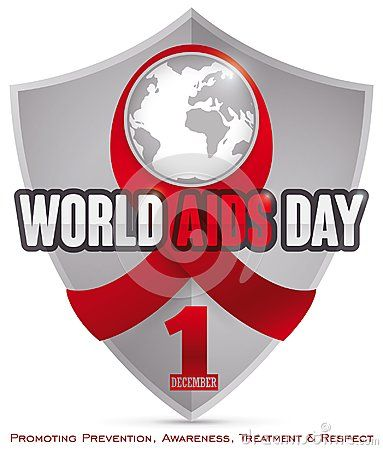 Poster with shield and red ribbon with a world map, symbolizing the worldwide campaign promoting prevention, awareness and other values in World AIDS Day.