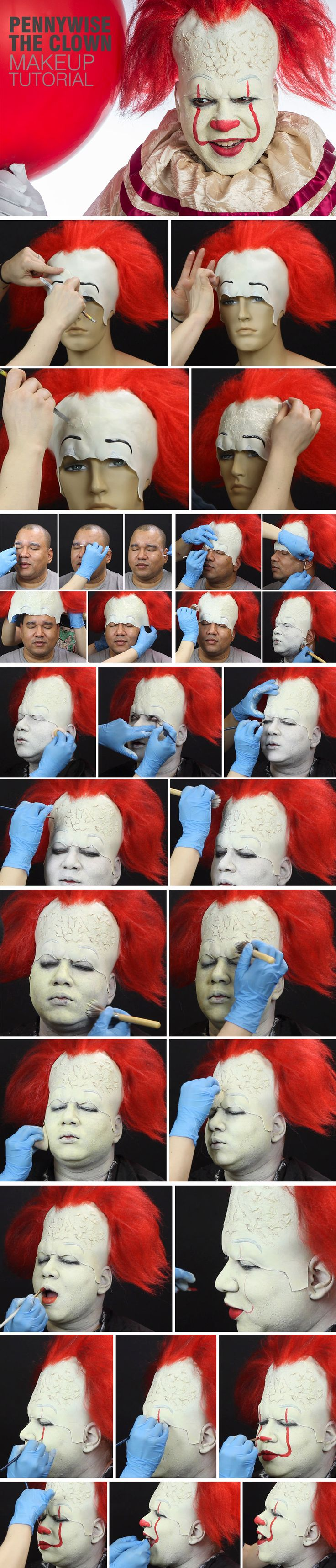 Follow this TERRIFYING  step-by-step tutorial for Pennywise the Clown makeup from Stephen King's IT, in theaters September 8.