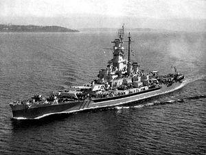 USS Massachusetts (BB-59) underway off the coast of Point Wilson, 1944!