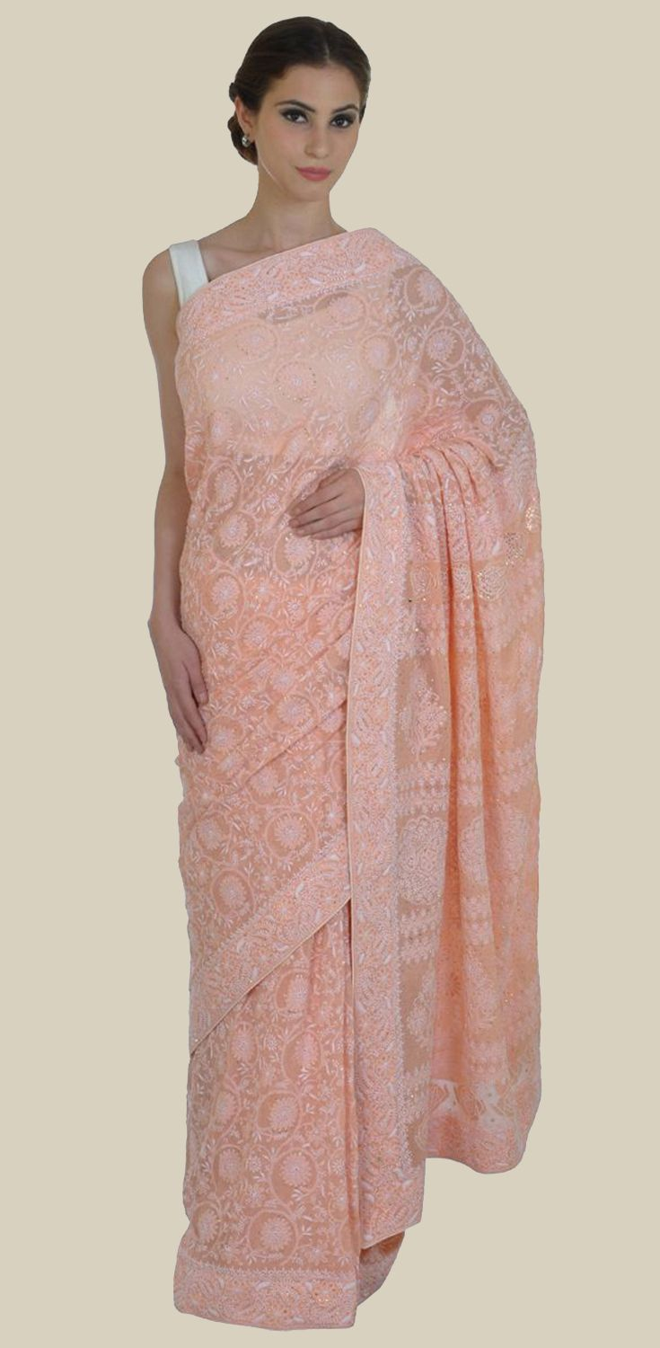 Pastel Peach Intricate Chikankari And Kamdani Pure Georgette Saree