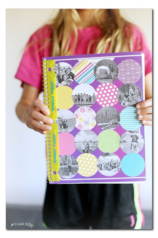 photo collage notebook for back to school - love this DIY! --- Sugar Bee Crafts