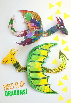 Dragones plato de papel -Super arte fácil y divertido y proyecto de manualidades para hacer con los niños!
