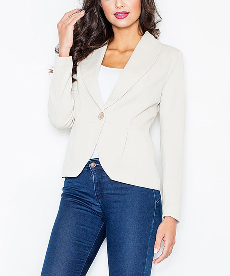 Take a look at this FIGL Beige One-Button Blazer today!