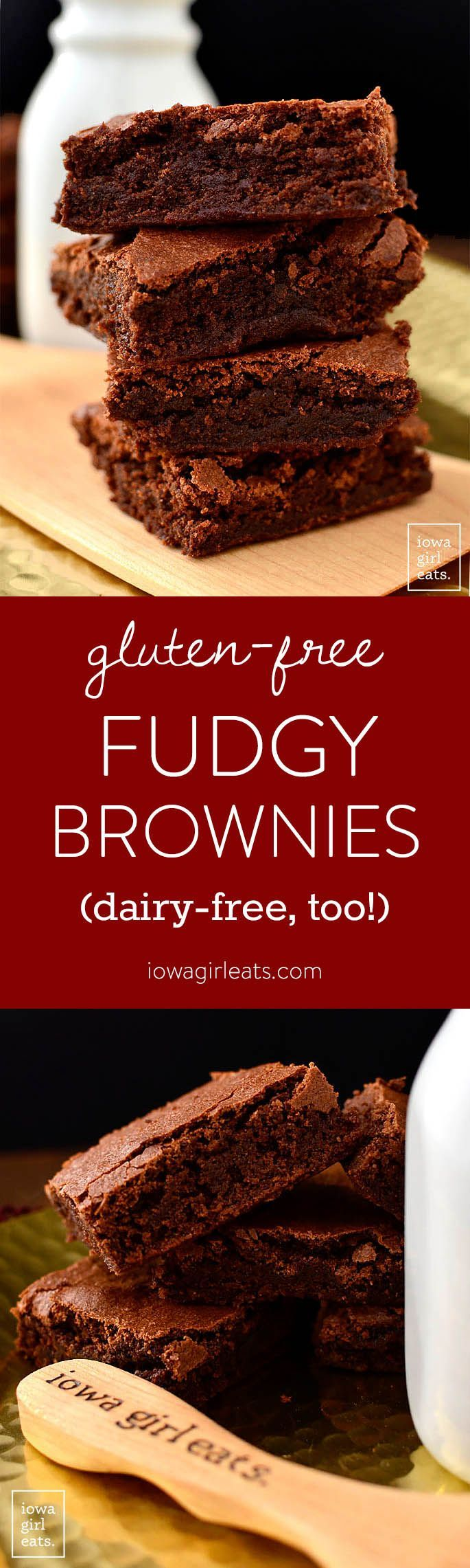 Gluten-Free Fudgy Brownies are the ultimate, dense and chewy brownie. Made in just one bowl, these gluten-free brownies are easily made dairy-free, too!  | iowagirleats.com