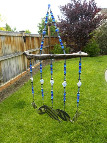 Spoon fish wind chime - black and blue - glass beads - Oregon driftwoo - Whispering Metalworks