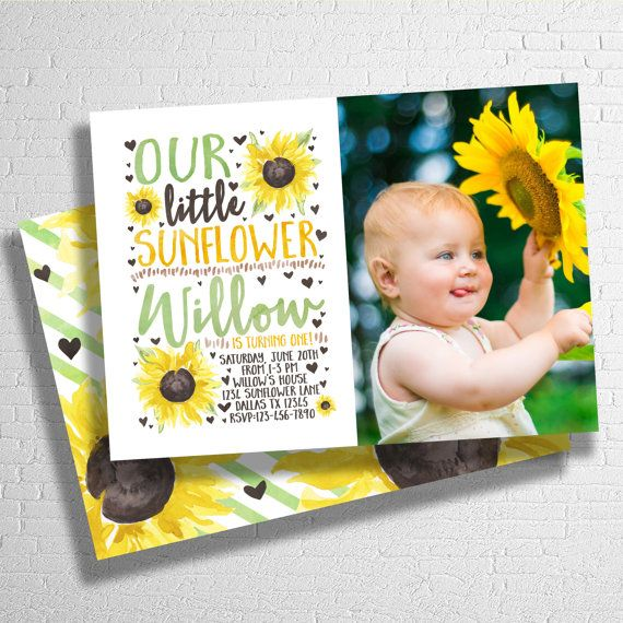 Sunflower Birthday Invitation  Our Little by ohbejoyfulshop