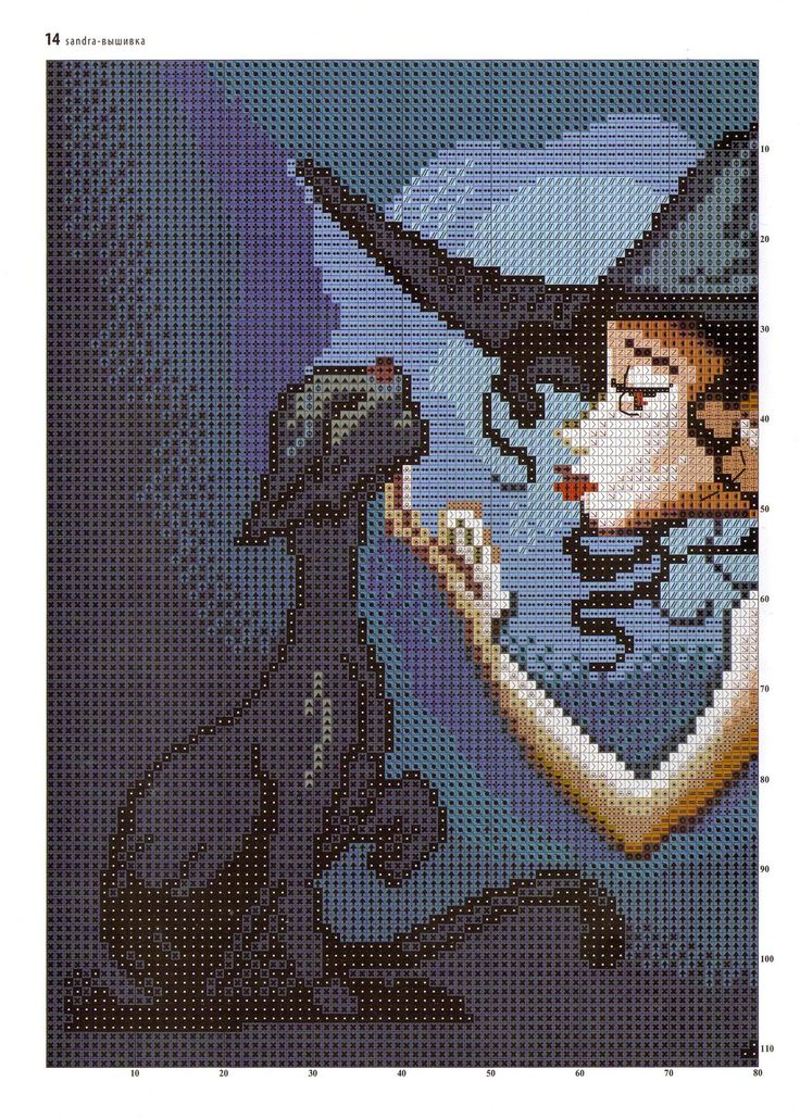 Witch & cat cross stitch patter.... LOVE this pattern... I just need someone to translate russian colors....