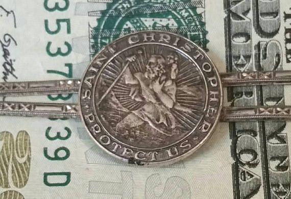 Antique Saint CHRISTOPHER Medal Money Clip PROTECT US Tie Clip