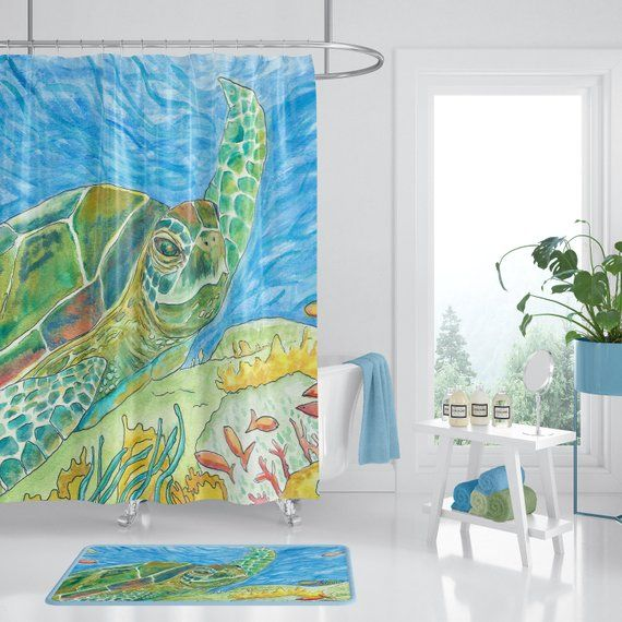 Sea Turtle Shower Curtain Watercolor Sea Turtle Art For Your