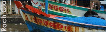 Moored fishing boat, Rach Gia, Mekong Delta, Vietnam