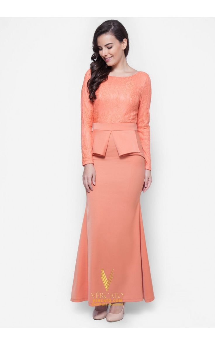 Jubah Peplum Lace - Vercato Vivi in Salmon Orange. Buy Lace Peplum Maxi Dress featuring intricate lace detailing on top and unique peplum design at the waist. SHOP NOW: www.vercato.com