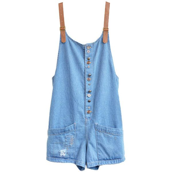 Oversized Denim Bib Overalls with Large Patch Pockets (£31) ❤ liked on Polyvore featuring jumpsuits, rompers, dresses, overalls, denim rompers, playsuit jumpsuit, blue overalls, romper jumpsuit and blue jump suit