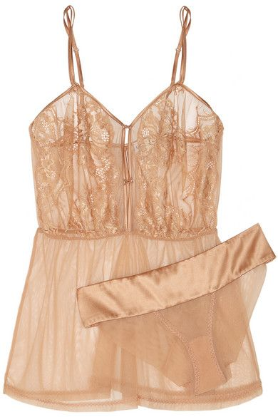 El Color Rojo lace, satin and stretch-tulle chemise and briefs