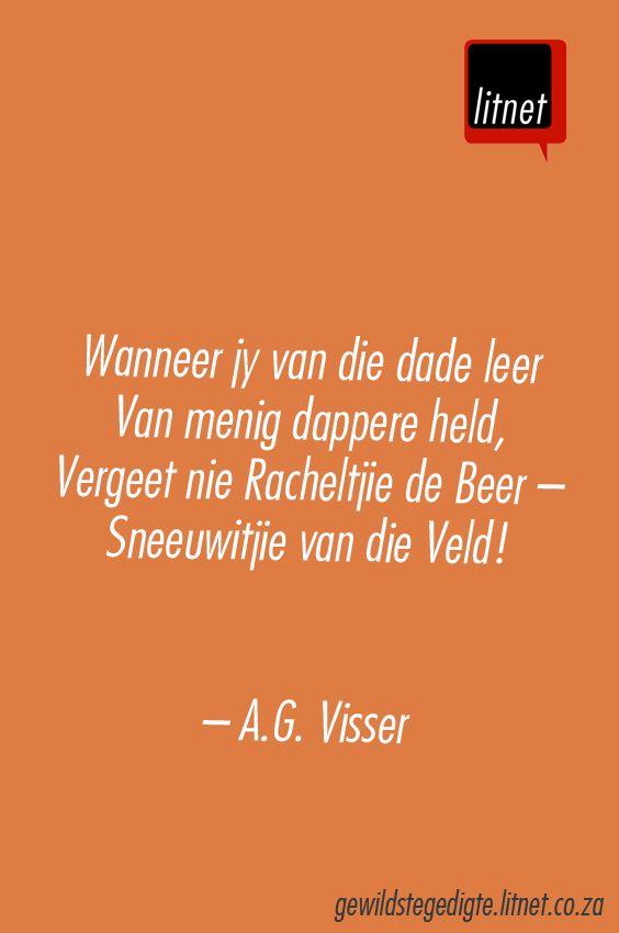 Wanneer jy van die dade leer van menig dappere held, vergeet nie Racheltjie de Beer — Sneeuwitjie vn die Veld | AG Visser | Afrikaanse gedigte | Litnet