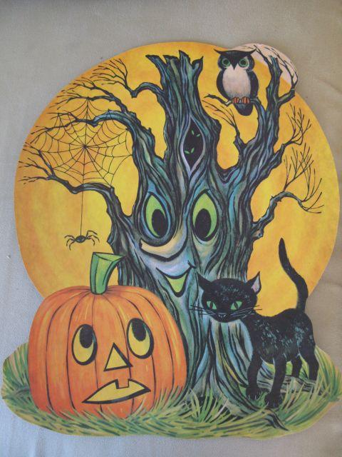 """1967 Dennison 'Halloween Tree' Die Cut Decoration. Three Sizes: 6 3/4"""", 10 3/4"""", 16"""""""