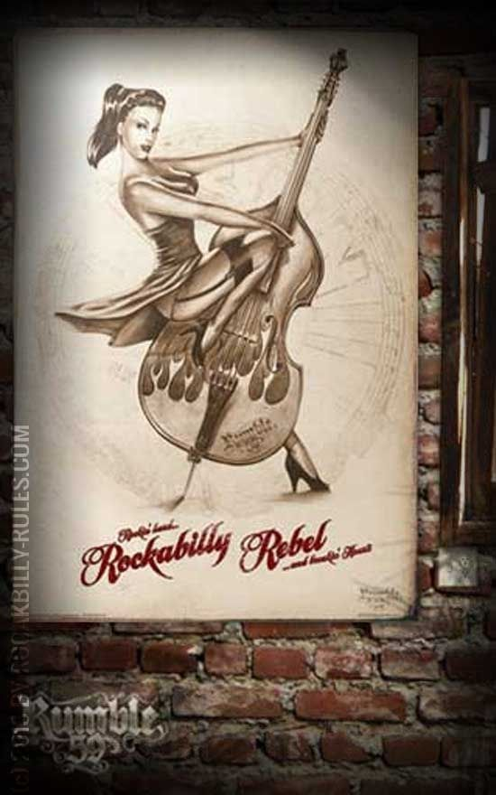 Rumble59 Poster - Rockabilly Rebel - Poster mit handgemaltem Pin-Up Motiv auf hochwertigem Papier im DIN A1 Format. - Rockabilly-Rules.com
