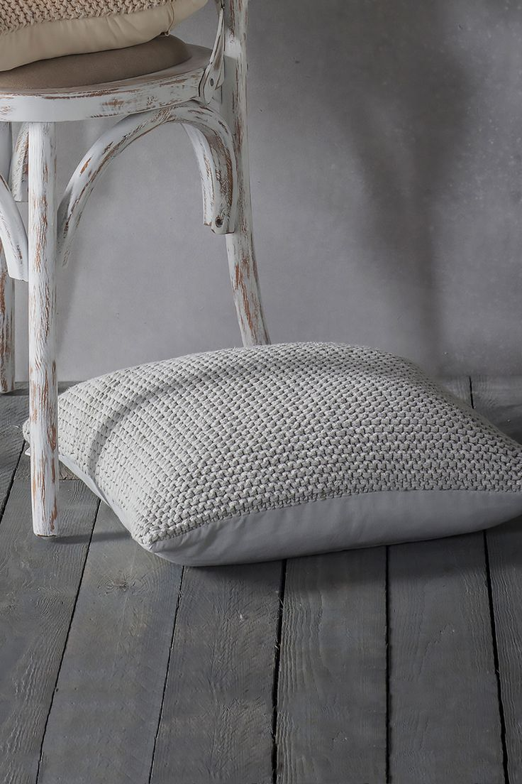 Sequin Knitted Cushion With Feather Pad, Grey | BHS