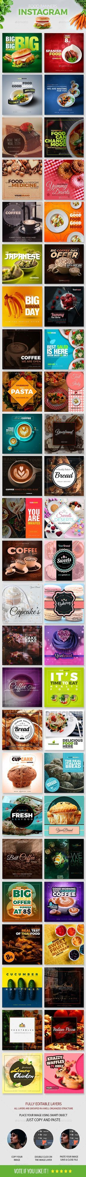 This is a professional 50 #Food #Instagram #Banners templates to promote on Instagram. Hurry 30% #OFF of limited time.