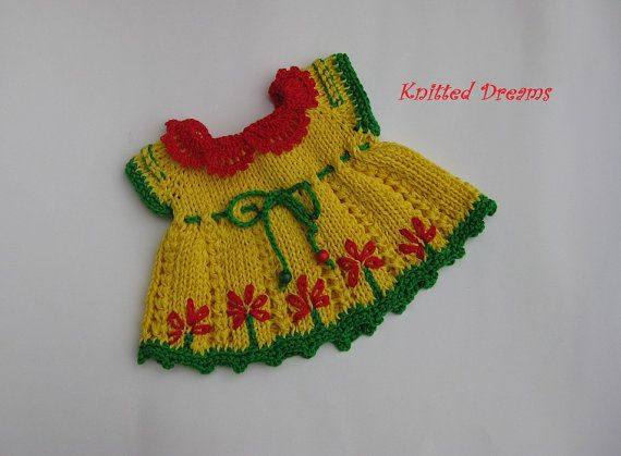 SPECIAL PRICE Waldorf doll Clothes  Hand Knitted Yellow by tatocka