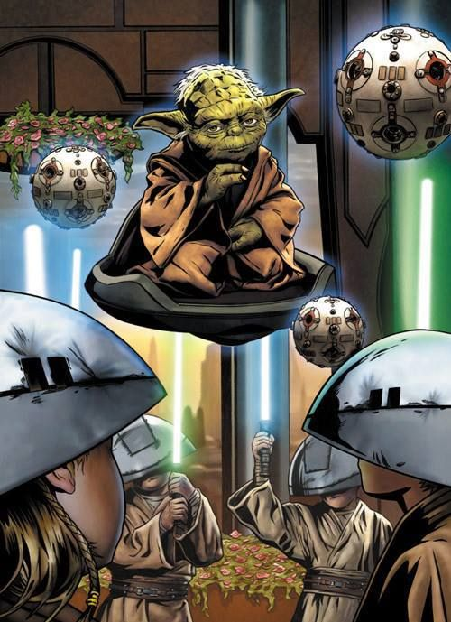 Yoda training younglings in the Jedi Temple