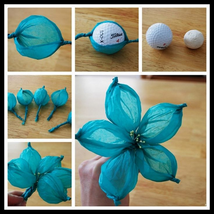 Dollar Store Crafter: Tissue Paper Flower Using Golf Ball As A Template