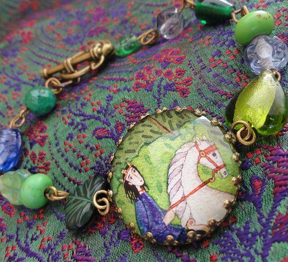 "Art Bracelet - Forest Prince - 7.75"" 19.5cm Large size. $20.00, via Etsy."