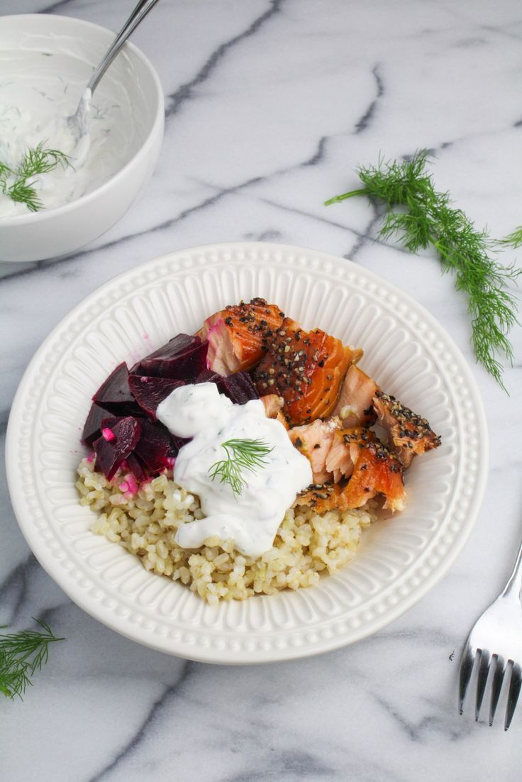 Scandi Salmon Bowl with Pickled Beets and Dilled Sour Cream {Katie at the Kitchen Door}