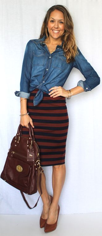 J's Everyday Fashion [blog] chambray shirt and striped pencil skirt. Perfect outfit formula!  with <3 from JDzigner www.jdzigner.com