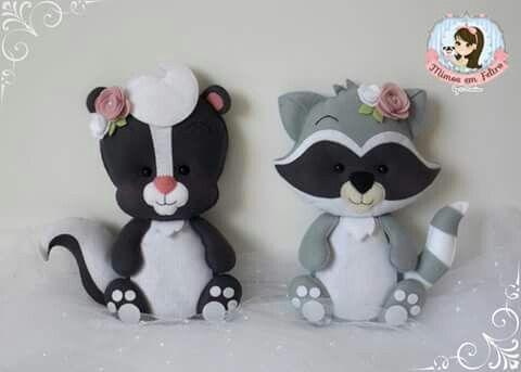 Zorrillo y mapache   Moldes en fieltro   Pinterest   Felt ...