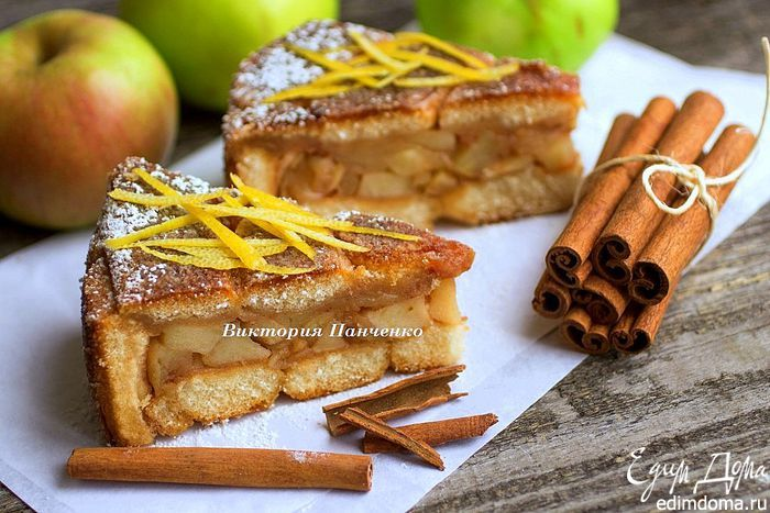 Необычная шарлотка с печеньем савоярди  По этому рецепту шарлотка получается необыкновенно вкусной, сочной и нежной! Попробуйте! #едимдома #готовимдома #рецепты #кулинария #выпечка #шарлотка #савоярди