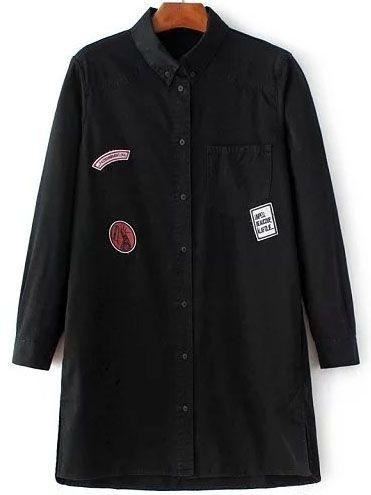 #AdoreWe #SheIn Dresses - SheIn Black Single Breasted Patch Denim Shirt Dress - AdoreWe.com