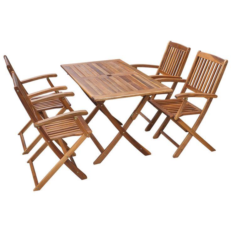 vidaXL Five Piece Outdoor Dining Set Acacia Wood