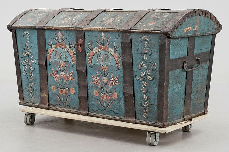 Folk art trunk made by  Stenström, from the south of Sweden, 1819.