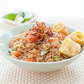 "Indonesian-Style Fried Rice (Nasi Goreng) Great recipe for leftover rice.  There are a few ""prep"" steps, but once everything goes in the pan, it is ready fast!"