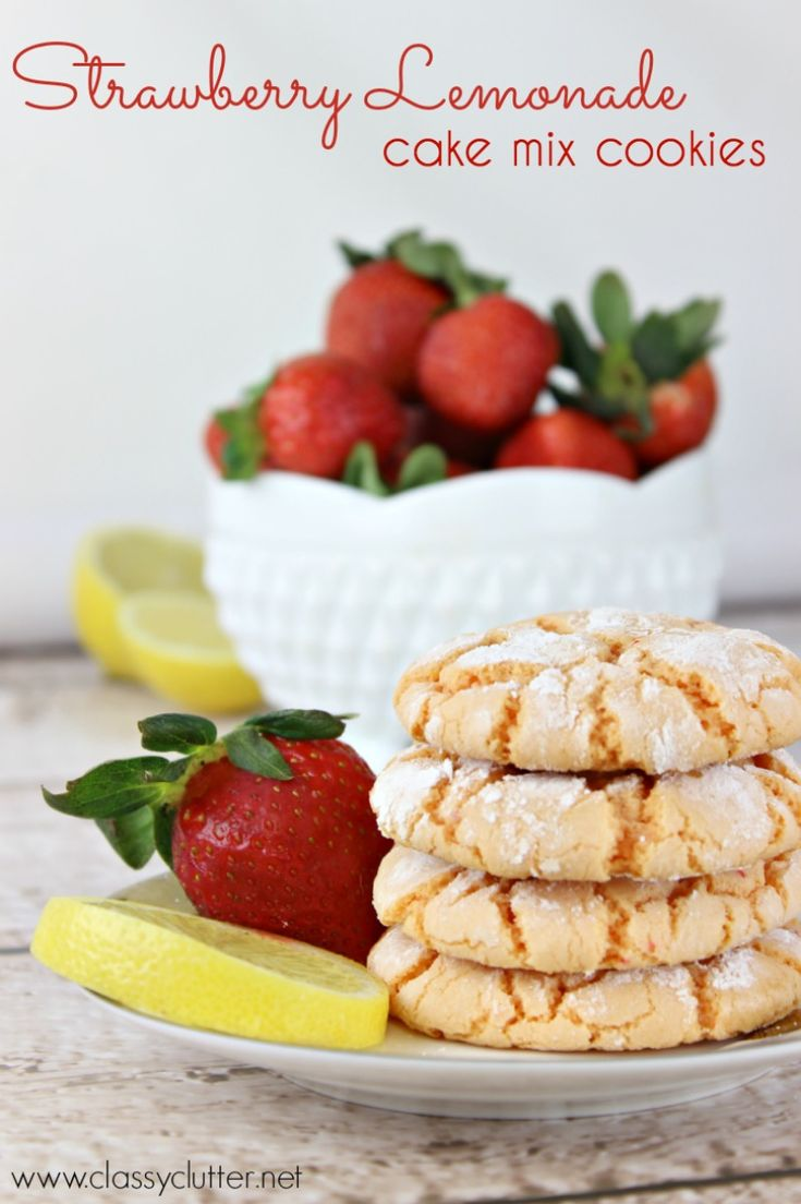 Strawberry Lemonade Cookies - Yummy! These only take about 10 minutes from start to finish! Click for recipe!