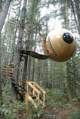 Free Spirit Sphere tree house in Canada.