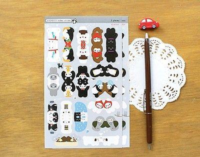 Kawaii Cute Animal Shape Index Stickers Jetoy Joozoo Index Sticker Black | eBay