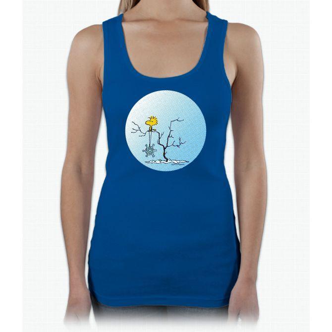 Snowflake Woodstock Charlie Brown Ladies Triblend Racerback Tank