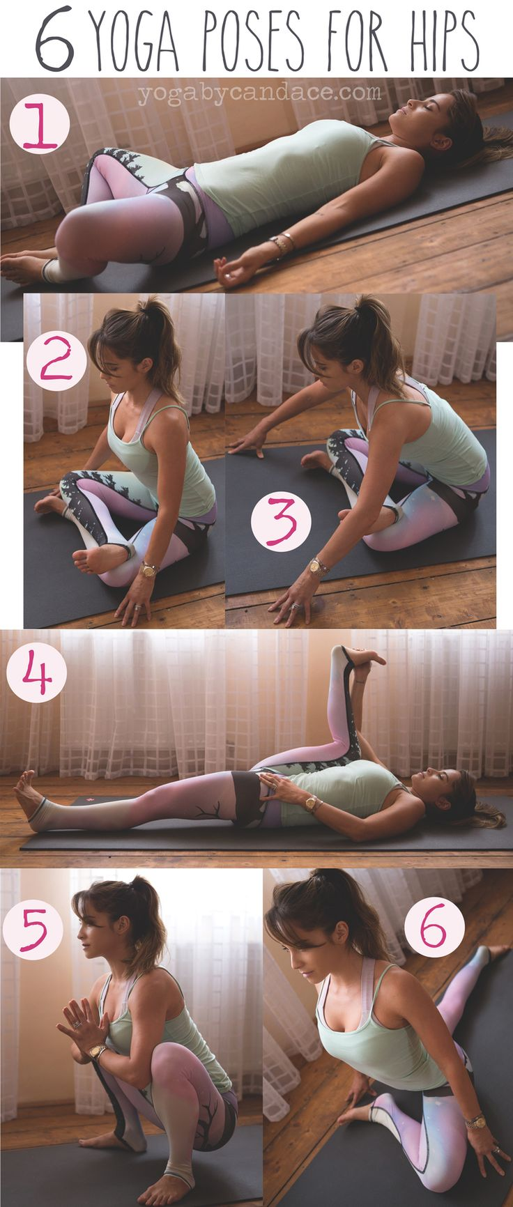 Pin now, practice later! 6 yoga poses for hips! Wearing: Teeki northern lights pants, tank. Using: Manduka mat