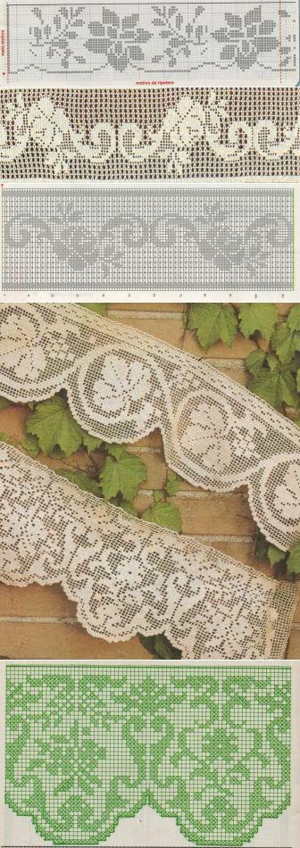 Подборка красивой вязаной филейной каймы ... ♥ Deniz ♥