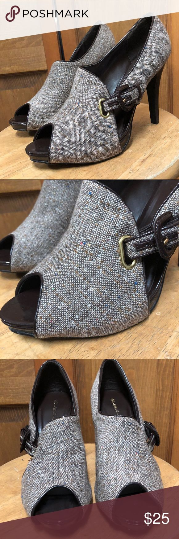 """Charlotte Russe • Tweed Peep Toe Heel Booties 10 Buckle Closure  Tweed material  patent trim  Peep Toe platform (approx: 0.75"""")   💛Like this item for pricing updates    💛Items ship out ASAP (usually next business day)   💛Answer to Questions / Measurements asked for after 6pm/before 12 Or on Sunday will be delayed but feel free to ask!   💛Save 15% by purchasing more than one item!   💛Measurements are Approximate   💛Keywords: work Career Brown shoes heel ankle boots Charlotte Russe Shoes…"""