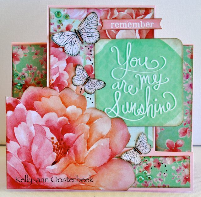 A step card by Kelly-ann Oosterbeek made using the Cherry Blossom Collection from Kaisercraft. www.amothersart.com.au