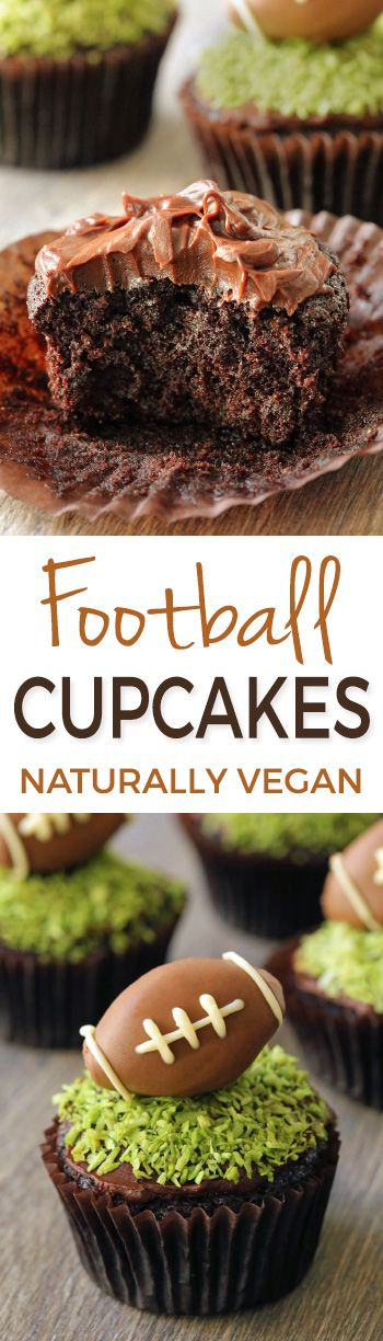 These moist chocolate football cupcakes have a simple chocolate fudge frosting, naturally dyed green coconut grass and a chocolate peanut butter football truffle on top! {vegan, dairy-free, and 100% whole grain (all-purpose flour can also be used)}.