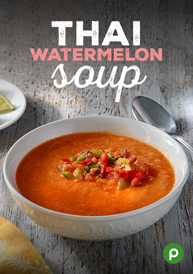 Fruits and vegetables are naturally free of added sugars and can help keep you hydrated during the hot days ahead. These refreshing soup recipes from Publix Aprons Simple Meals, such as the Thai Watermelon Soup, feature summer fruits and vegetables that can cool you off while providing added nutrients.