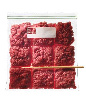 Ground beef divided into square sections in a plastic ziploc bag so you can easily break it off when you cook next time!