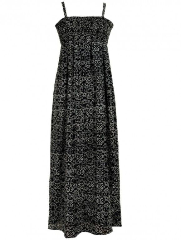 Maxi šaty FLORAL černé - fair trade oblečení z biobavlny, bambusu, konopí, modalu, tencelu a merino, přírodní kosmetika, bambucké máslo, fairtrade bytové doplňky